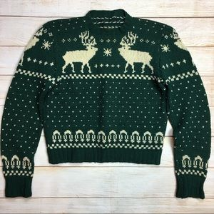 Vtg Handmade Winter/Christmas reindeer sweater S